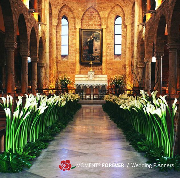 Moments forever wedding decorators lebanon wedding decoration 2 elegant church decoration with arome flowers moments forever junglespirit Images